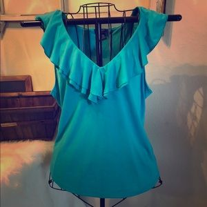 Teal Chaps Ruffled Top